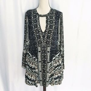 free people boho blue floral tunic top